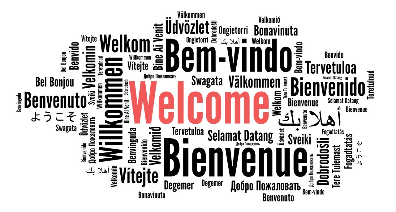 Different language saying welcome